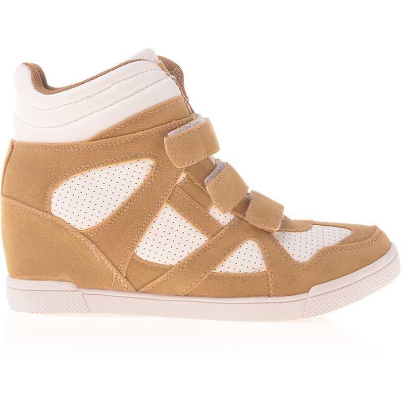 Sneakers dama Georgiana camel cu alb