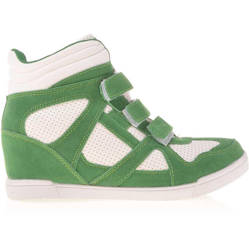 Sneakers dama Georgiana verde cu alb