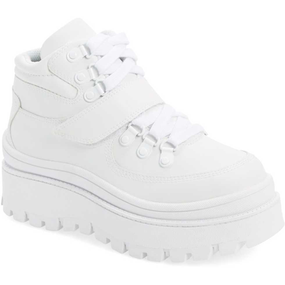 Jeffrey Campbell Top-Peak Platform Sneaker WHITE LEATHER pentru dama