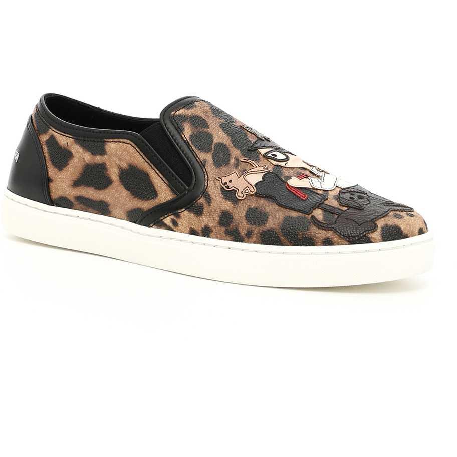 Dolce Gabbana Slip-On Sneakers BEIGE CHIARO/NERO pentru femei