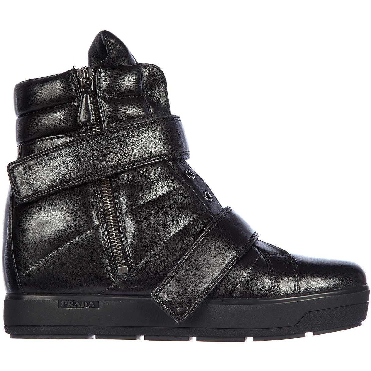 Prada High Top Sneakers Nappa Sport Black pentru femei