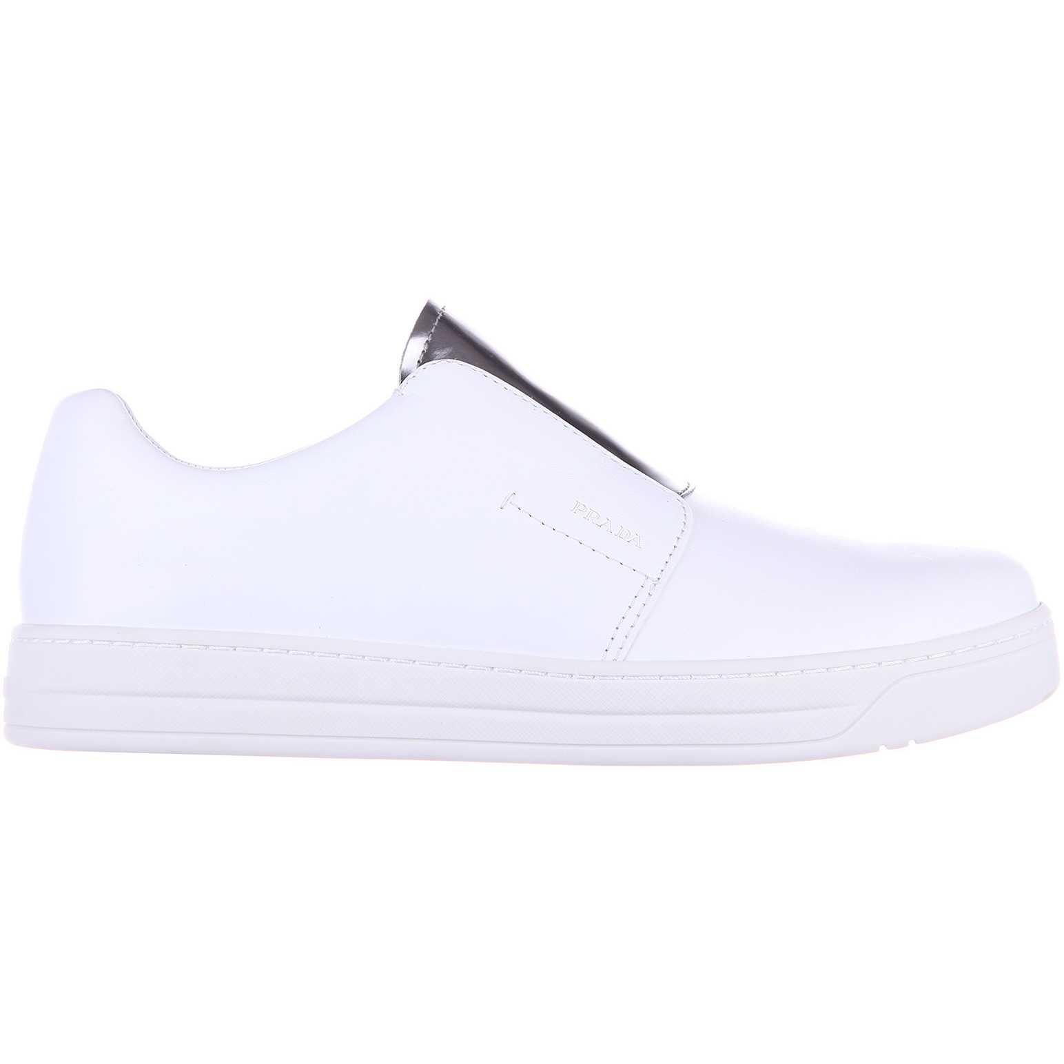 Prada Sneakers Soft Calf Spazzolata White pentru dama