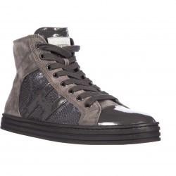 Hogan High Top Suede Sneakers Rebel R141 H Laterale Paillettes Grey pentru femei