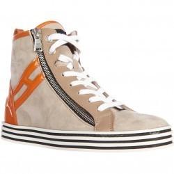 Hogan High Top Suede Sneakers R182 Rebel Vintage Zip Beige pentru femei