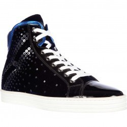 Hogan High Top Suede Sneakers Rebel R182 Paillettes Explosion Blue pentru dama