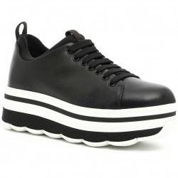 Linea rossa Calfskin Sneakers NERO+BIANCO pentru femei